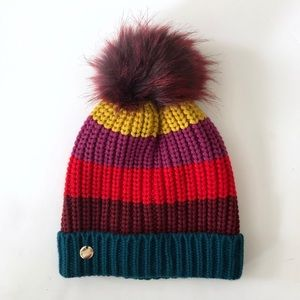NWT Express Color Stripe Faux Fur Pom Hat